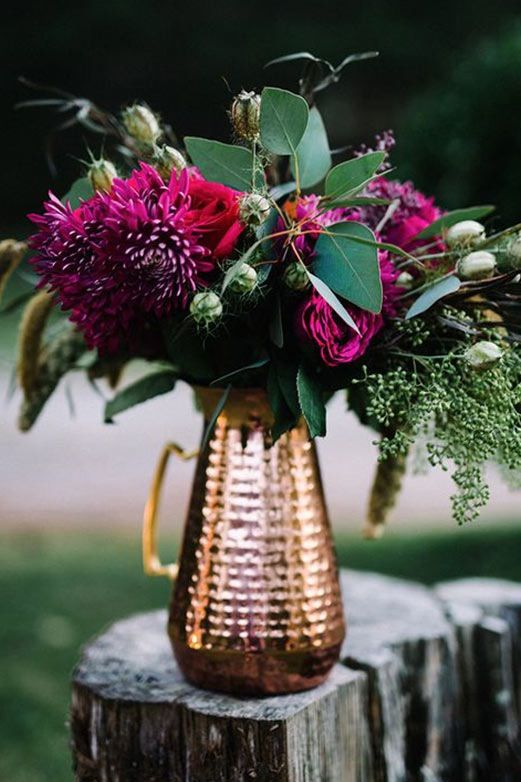 Jewel-Toned Floral Components for weddings in Edmonton